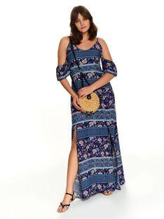 Printowana sukienka z dekoltem w serek