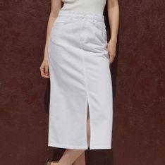 Reserved - Bawełniana spódnica midi - Kremowy