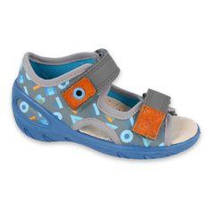 Befado obuwie dziecięce pu 065X160 niebieskie szare
