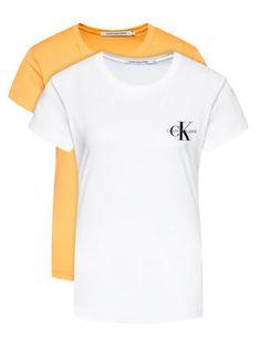 Calvin Klein Jeans Komplet 2 t-shirtów J20J214364 Pomarańczowy Slim Fit