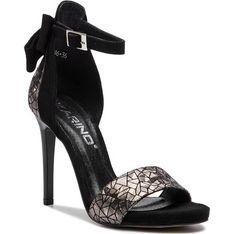 Sandały damskie Karino z klamrą ze skóry eleganckie w geometryczne wzory