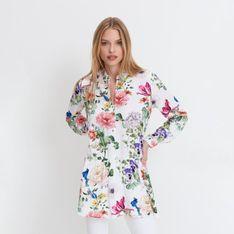 Mohito - Wiskozowa koszula w kwiaty - Kremowy