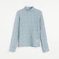 Reserved - Ażurowa bluzka ze stójką - Niebieski