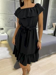 Czarna Sukienka Hiszpanka z Paskiem 5872-319-B