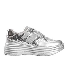 Srebrne brokatowe sneakersy na grubej podeszwie Laurel srebrny