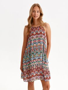 Sukienka z dekoltem halter w kolorowy nadruk