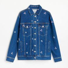 Reserved - Kurtka jeansowa z haftowanym zdobieniem - Niebieski