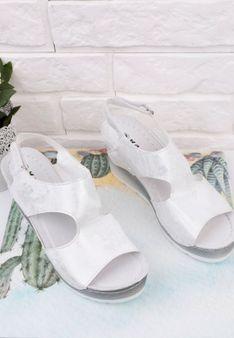 Sandały srebrne na koturnie 2 Munoz