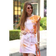 Sukienka IVET dopasowana na co dzień mini z okrągłym dekoltem z krótkimi rękawami