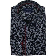 Koszula męska Rigon z długimi rękawami w abstrakcyjnym wzorze z lycry