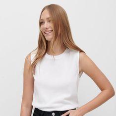 Reserved - Strukturalna bluzka bez rękawów - Biały