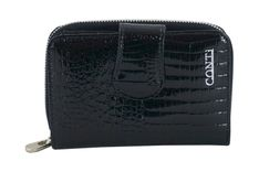 Ekskluzywne portfele damskie lakierowane - Czarne