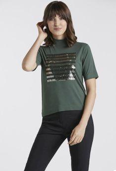 T-shirt z małym golfem