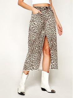One Teaspoon Spódnica jeansowa Animal Rocko 23065 Brązowy Relaxed Fit