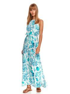 Sukienka maxi z dekoltem halter i morskim nadrukiem