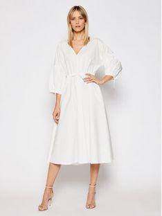 Trussardi Sukienka letnia Popeline 56D00517 Biały Regular Fit