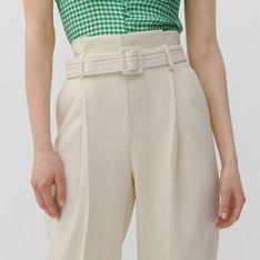 Reserved - Spodnie paperbag z paskiem - Kremowy