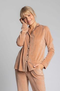 Welurowa Koszula od Piżamy - Beżowa