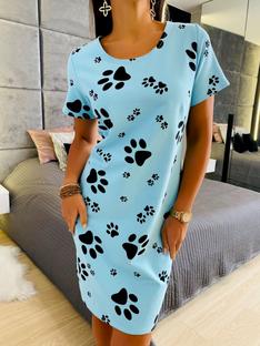 Błękitna Sukienka z Nadrukiem Łapki 5572-402-A