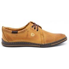 Polbut Skórzane buty męskie 343 perforacja rude wielokolorowe pomarańczowe