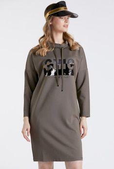 Casualowa sukienka damska z aplikacją