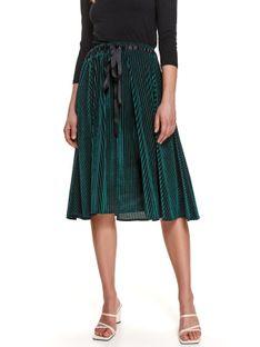 Welurowa plisowana spódnica z wiązaną taśmą