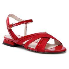 Sandały SAGAN - 4529 Czerwony Welur/Czerwony Lakier