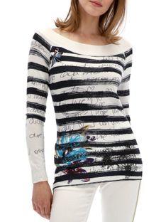 Sweter biały w paski Desigual DELPHINE