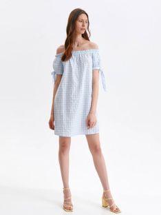 Krótka sukienka z odkrytymi ramionami w kratkę vichy
