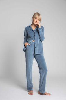 Welurowe Spodnie od Piżamy z Kontrastowymi Lamówkami - Niebieskie