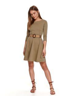 Dzianinowa sukienka fit & flare z plecionym paskiem