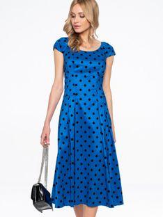 Niebieska sukienka z tafty w grochy Potis & Verso FLAMMA