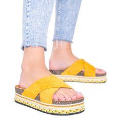 Musztardowe klapki z ozdobną podeszwą Riri żółte