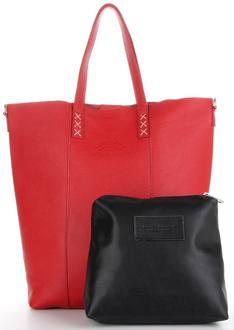 Vittoria Gotti Modne Torebki Skórzane Firmowy Shopper Made in Italy w rozmiarze XL z Kosmetyczką Czerwony (kolory)