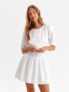 Ażurowa sukienka mini z gumką w pasie