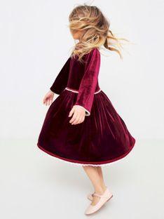 Bordowa welurowa sukienka dziecięca Anima by Justyna Steczkowska