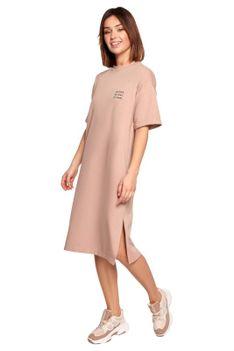 Swobodna Sukienka Bawełniana - Mocca