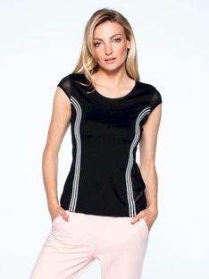 Czarna bluzka z ozdobnymi lampasami L`AF FUERTA