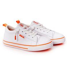 Dziecięce Trampki Eko-Skóra Big Star HH374036 Biało-Pomarańczowe białe