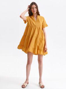 Krótka sukienka o luźnym kroju z falbankami