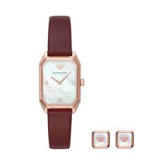 Zegarek EMPORIO ARMANI - Gioia Gift Set AR80028 Burgundy/Rose Gold
