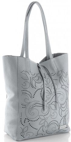 Vittoria Gotti Włoskie Torebki Skórzane typu ShoppeBag XL z Kosmetyczką w modne wycinane wzory Jasno Szara (kolory)