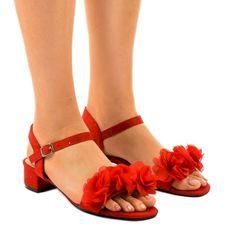 Czerwone sandaly na obcasie z kwiatami X8903