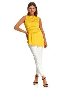 Bluzka damska z ozdobnie podkreśloną talią, asymetryczna długość
