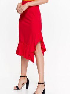 Spódnica dzianinowa z falbanami, w energetycznym czerwonym kolorze