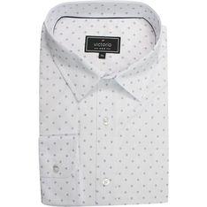 Koszula męska Victorio biała z długimi rękawami w abstrakcyjnym wzorze