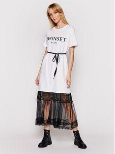 TwinSet Sukienka codzienna 211TT2290 Biały Regular Fit