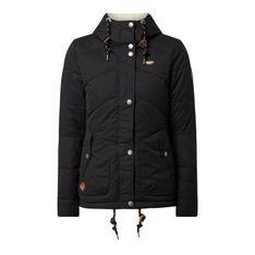 Pikowana kurtka z regulowanym dołem — watowana