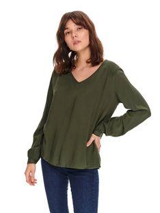 Gładka damska bluzka o luźnym kroju
