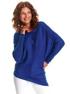 Niebieski sweter damski z asymetrycznym dołem